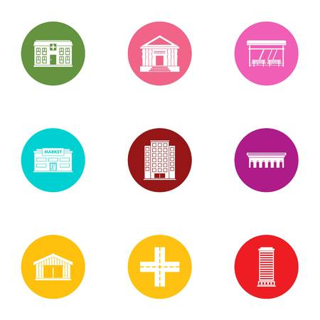 City centre icons set. Flat set of 9 city centre vector icons for web isolated on white background