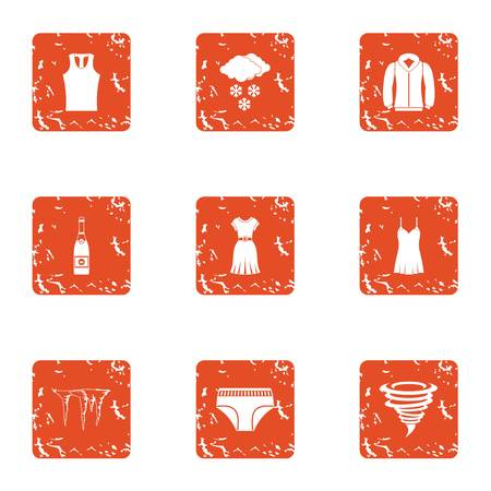 Warmer clothes icons set. Grunge set of 9 warmer clothes vector icons for web isolated on white background Illustration