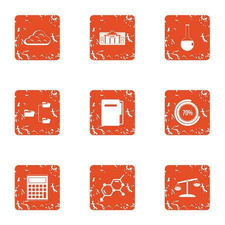 Computing machine icons set. Grunge set of 9 computing machine vector icons for web isolated on white background Illustration