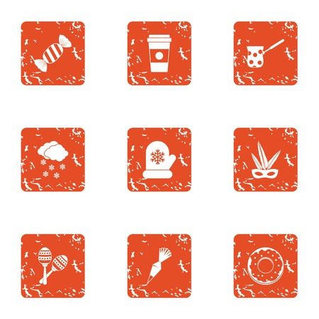 Sweet pudding icons set. Grunge set of 9 sweet pudding vector icons for web isolated on white background