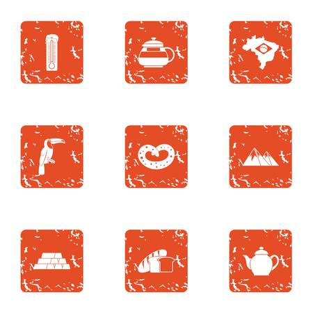 Tearoom house icons set. Grunge set of 9 tearoom house vector icons for web isolated on white background