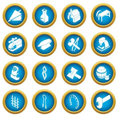 Blacksmith tools icons set. Simple illustration of 16 blacksmith tools icons set vector icons for web Illustration