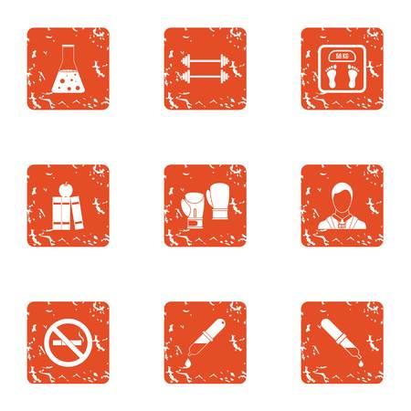 Chemical training icons set. Grunge set of 9 chemical training vector icons for web isolated on white background