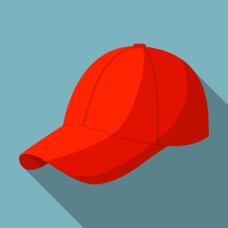 Red baseball cap icon. Flat illustration of red baseball cap vector icon for web design