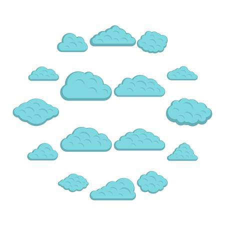 Clouds icons set in flat style isolated vector illustration Stock Illustratie