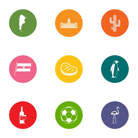 Distant country icons set. Flat set of 9 distant country vector icons for web isolated on white background