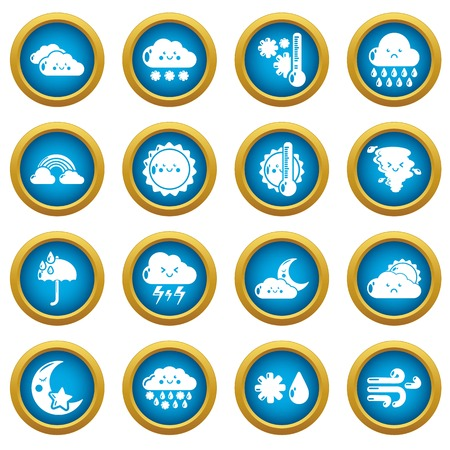 Weater icons set. Simple illustration of 16 weater vector icons for web