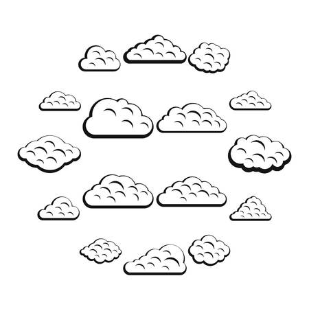 Clouds icons set. Simple illustration of 16 clouds vector icons for web