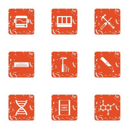 Gene expression icons set. Grunge set of 9 gene expression vector icons for web isolated on white background Illustration