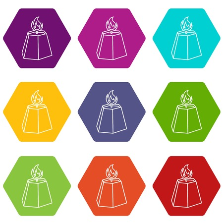Hexagon candle icons 9 set coloful isolated on white for web
