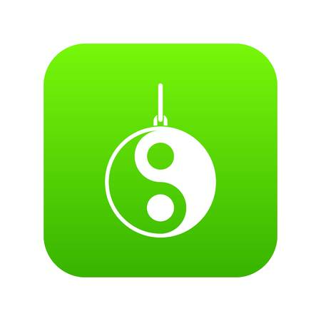 Yin Yang symbol icon digital green for any design isolated on white vector illustration