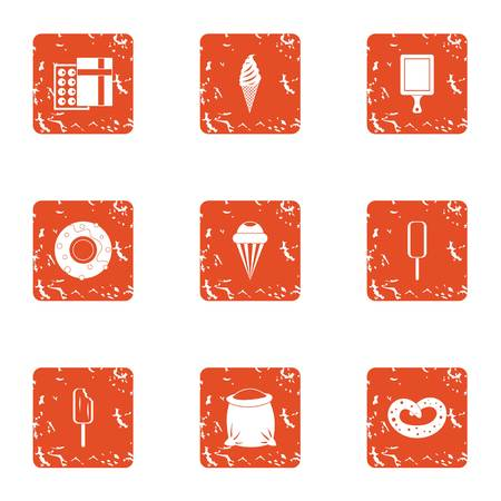 Pack ice icons set. Grunge set of 9 pack ice vector icons for web isolated on white background  イラスト・ベクター素材