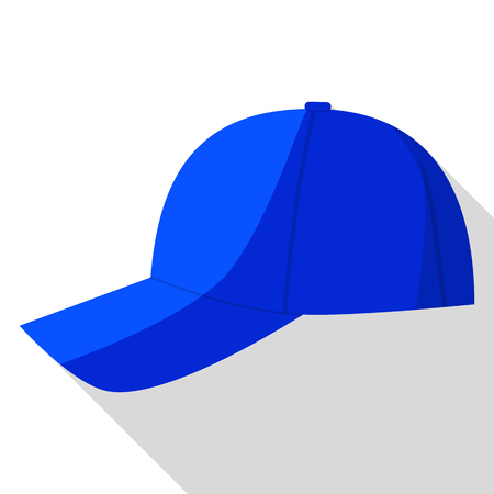 Side view of blue baseball cap icon. Flat illustration of side view of blue baseball cap vector icon for web design
