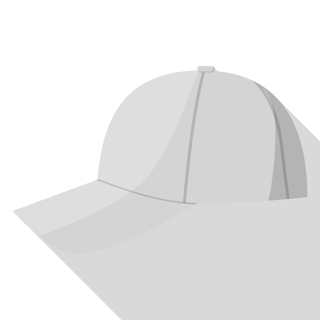 Side view of grey baseball cap icon. Flat illustration of side view of grey baseball cap vector icon for web design Vettoriali