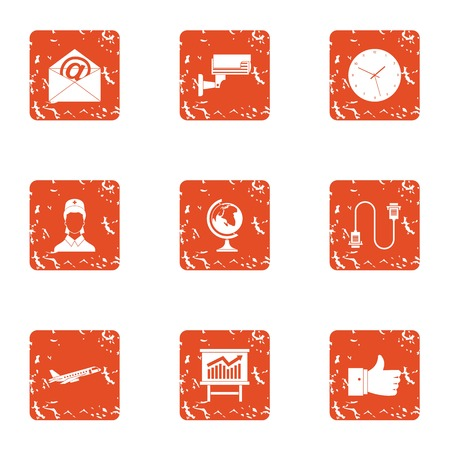 Watch over icons set. Grunge set of 9 watch over vector icons for web isolated on white background Illustration