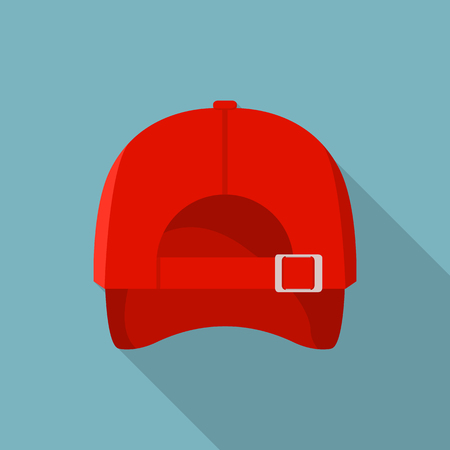 Back of red baseball cap icon. Flat illustration of back of red baseball cap vector icon for web design