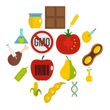 GMO icons set in flat style isolated vector illustration