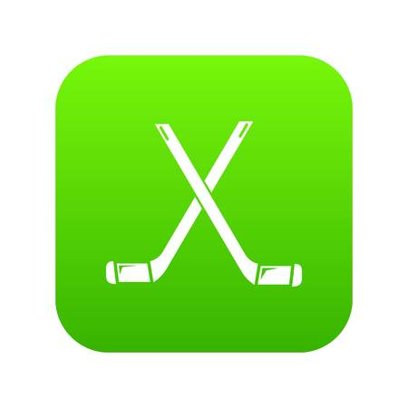 Two crossed hockey sticks icon green vector isolated on white background