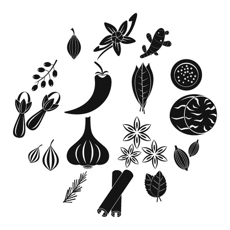 Spice icons set. Simple illustration of 16 spice vector icons for web