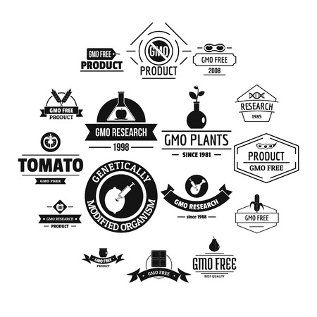 GMO food  icons set. Simple illustration of 16 GMO food  vector icons for web