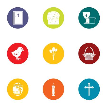 Easter icons set. Flat set of 9 easter vector icons for web isolated on white background