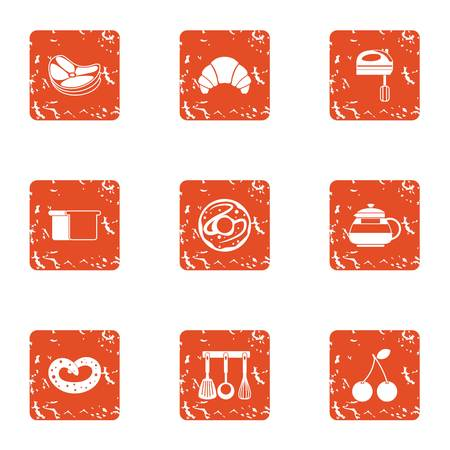 Clause of food icons set. Grunge set of 9 clause of food vector icons for web isolated on white background Illustration