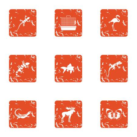 Creature icons set. Grunge set of 9 creature vector icons for web isolated on white background