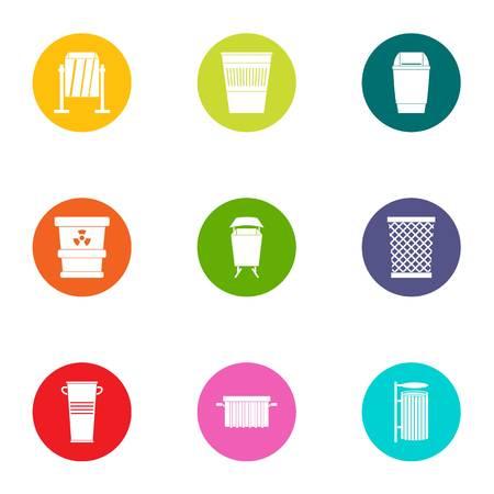 Waste basket icons set. Flat set of 9 waste basket vector icons for web isolated on white background