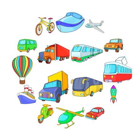 Cartoon transport icons set. Universal transport set to use for web and mobile UI, set of basic transport elements isolated vector illustration Illustration