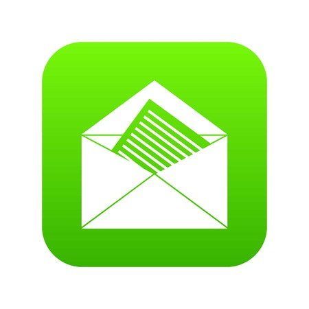 Open envelope with sheet of paper icon digital green for any design isolated on white vector illustration