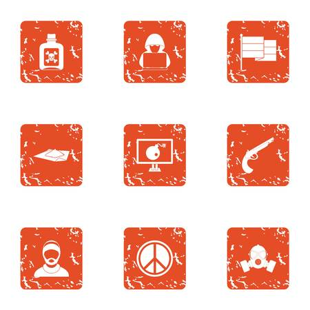 War hacker icons set. Grunge set of 9 war hacker vector icons for web isolated on white background Illustration