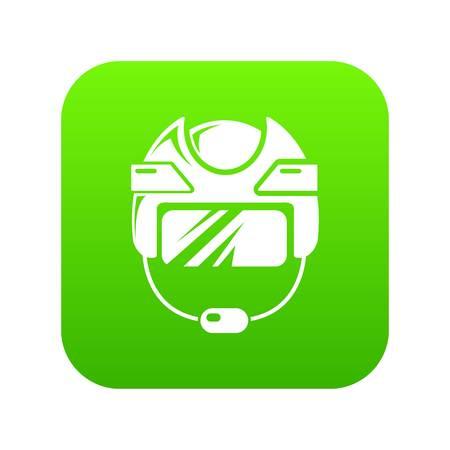 Hockey helmet icon green vector isolated on white background