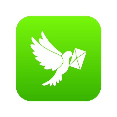 Dove carrying envelope icon digital green