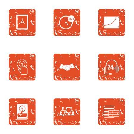 Data retention icons set, grunge style