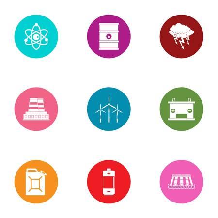 Hazardous environment icons set, flat style