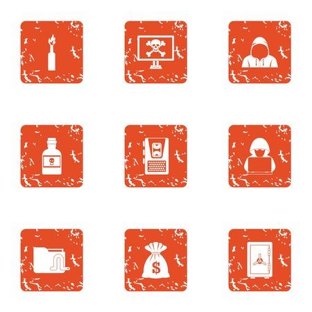 Pogrom icons set, grunge style