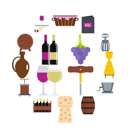 Wine icons set in flat style Illustration