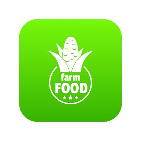Farm food icon green vector