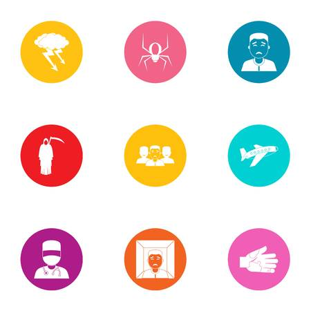 Fast medicine icons set, flat style Illustration