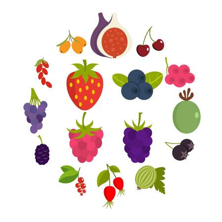 Berries icons set in flat style Çizim