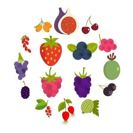 Berries icons set in flat style Illusztráció