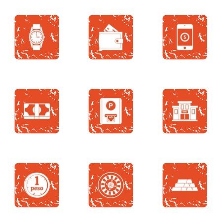 Present money icons set, grunge style