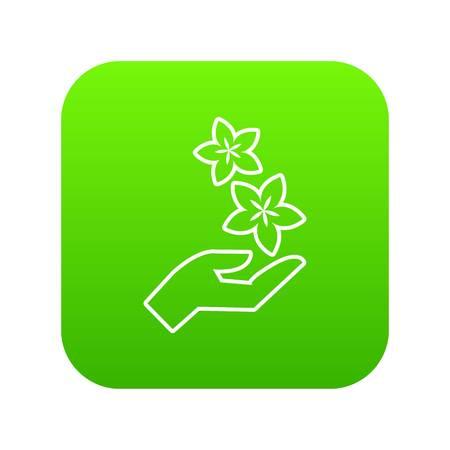 Spa hand care icon green vector