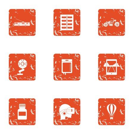 Cyber instruction icons set, grunge style