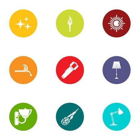 Home furnishings icons set, flat style
