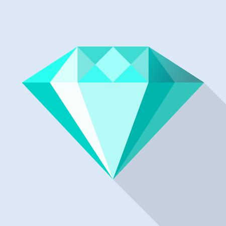 Aquamarine stone icon, flat style Illustration