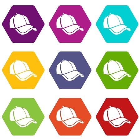 Cap icons set 9 vector Stock Illustratie