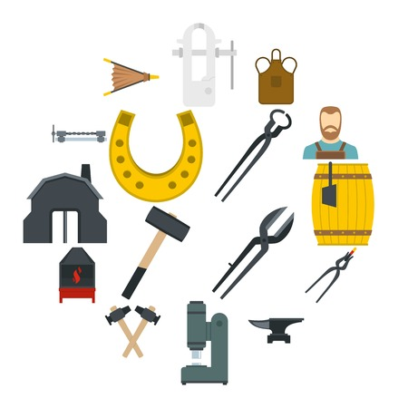 Blacksmith icons set in flat style