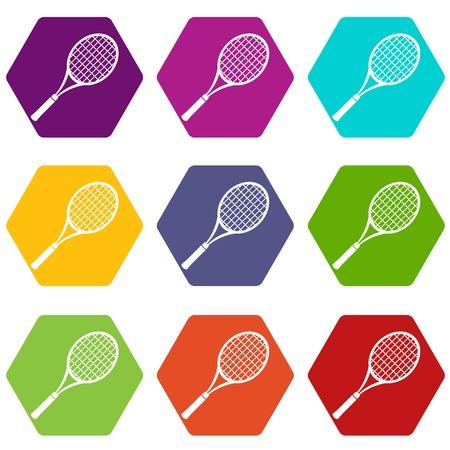 Tennis racket icons set 9 vector