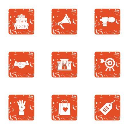 Create love icons set, grunge style Ilustração